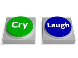 Cry Laugh Button By Stuart Miles